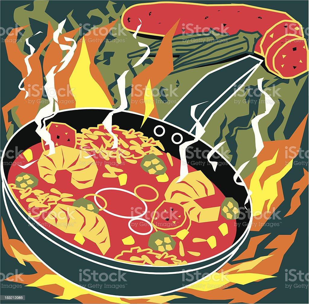 Flaming Jambalaya vector art illustration