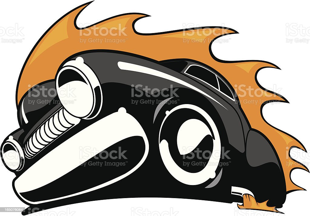 Flaming Low Rider vector art illustration
