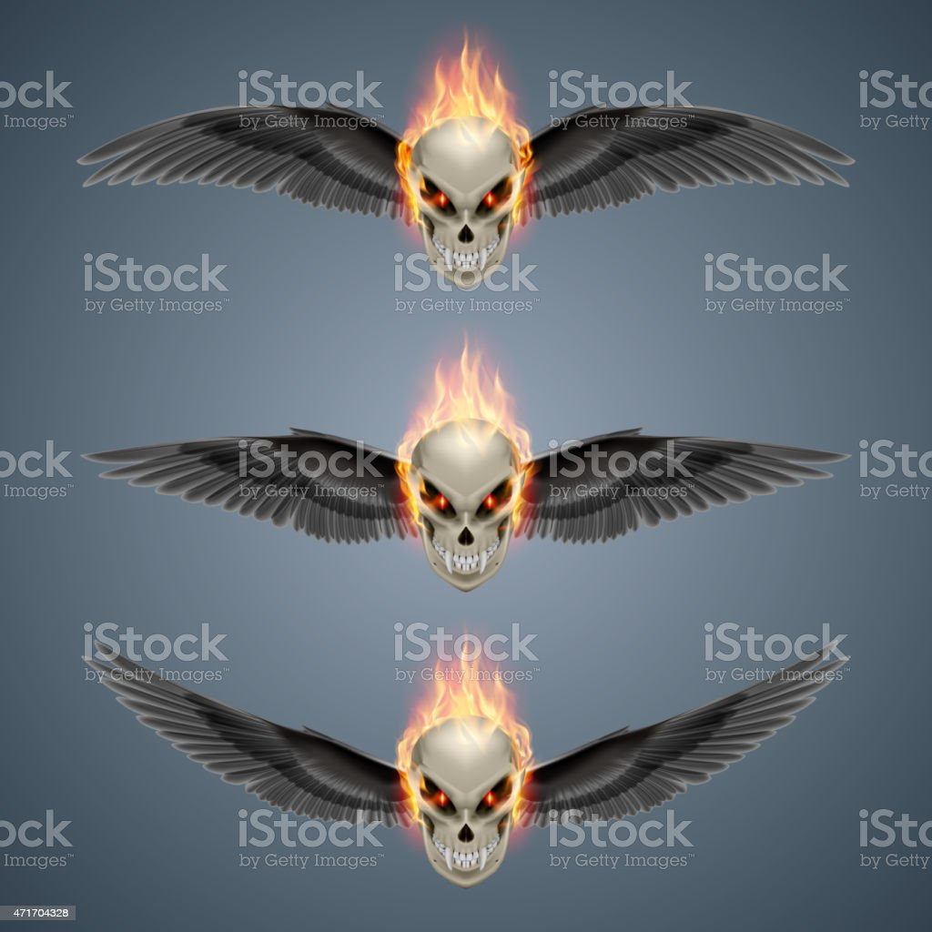 Flaming mutant skulls vector art illustration