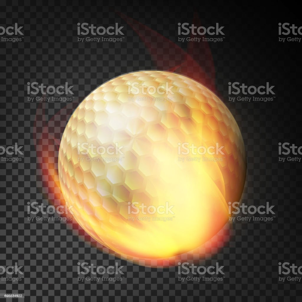 Flaming Realistic Golf Ball On Fire Flying Through The Air. Burning Ball On Transparent Background vector art illustration