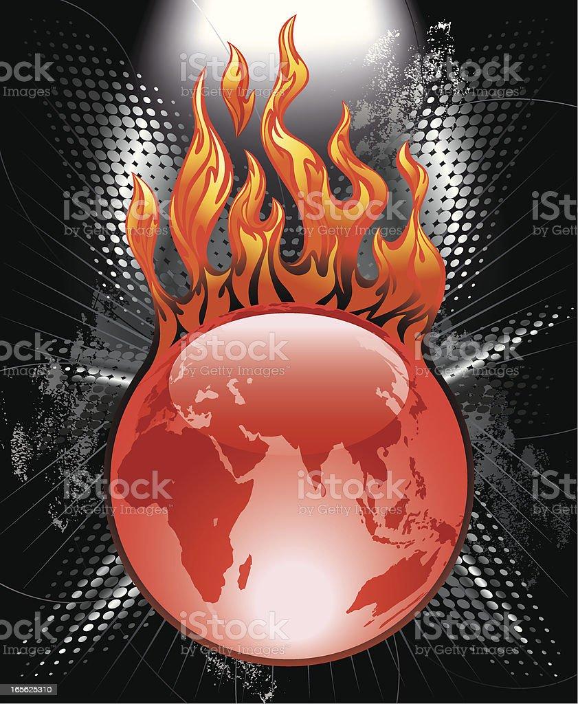 Flaming Red Globe Sphere Vector vector art illustration