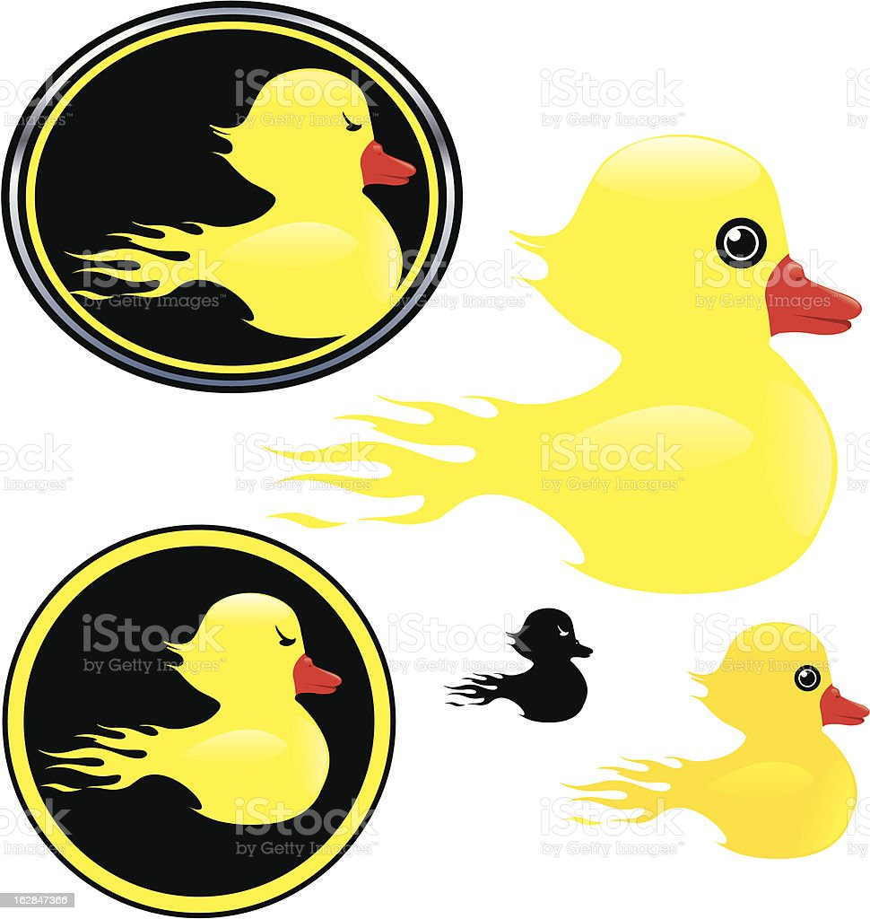 Flaming Rubber Duck royalty-free stock vector art