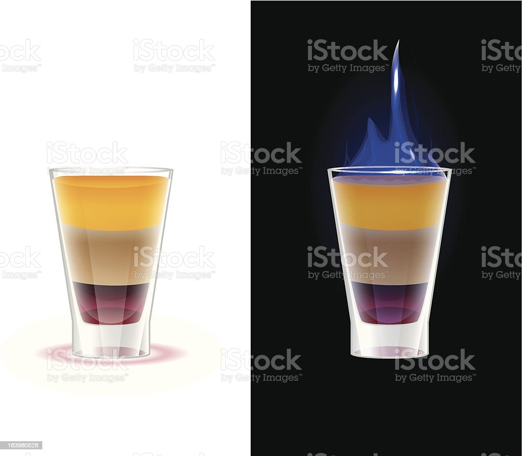 Flaming shot drink b52 vector art illustration