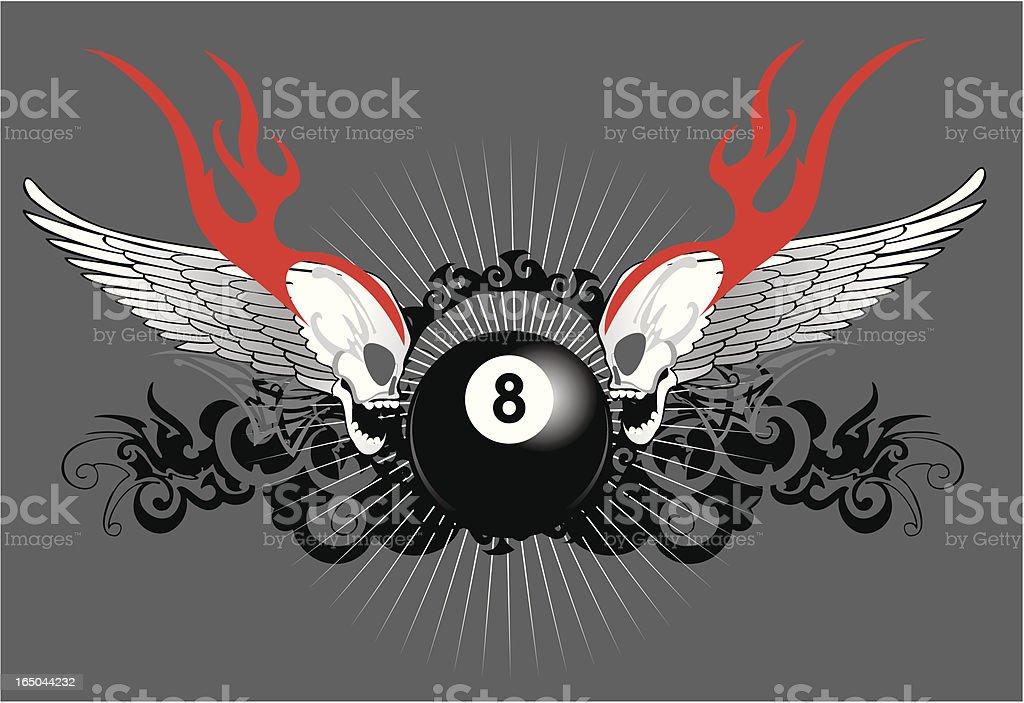 flaming skulls and eight ball vector art illustration