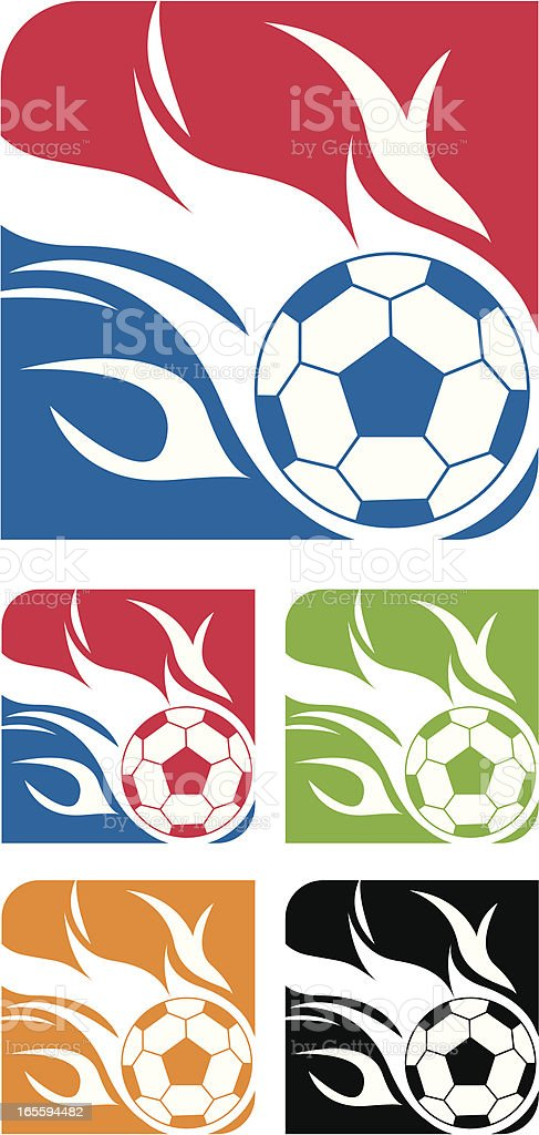 Flaming Soccer Ball Logo royalty-free stock vector art