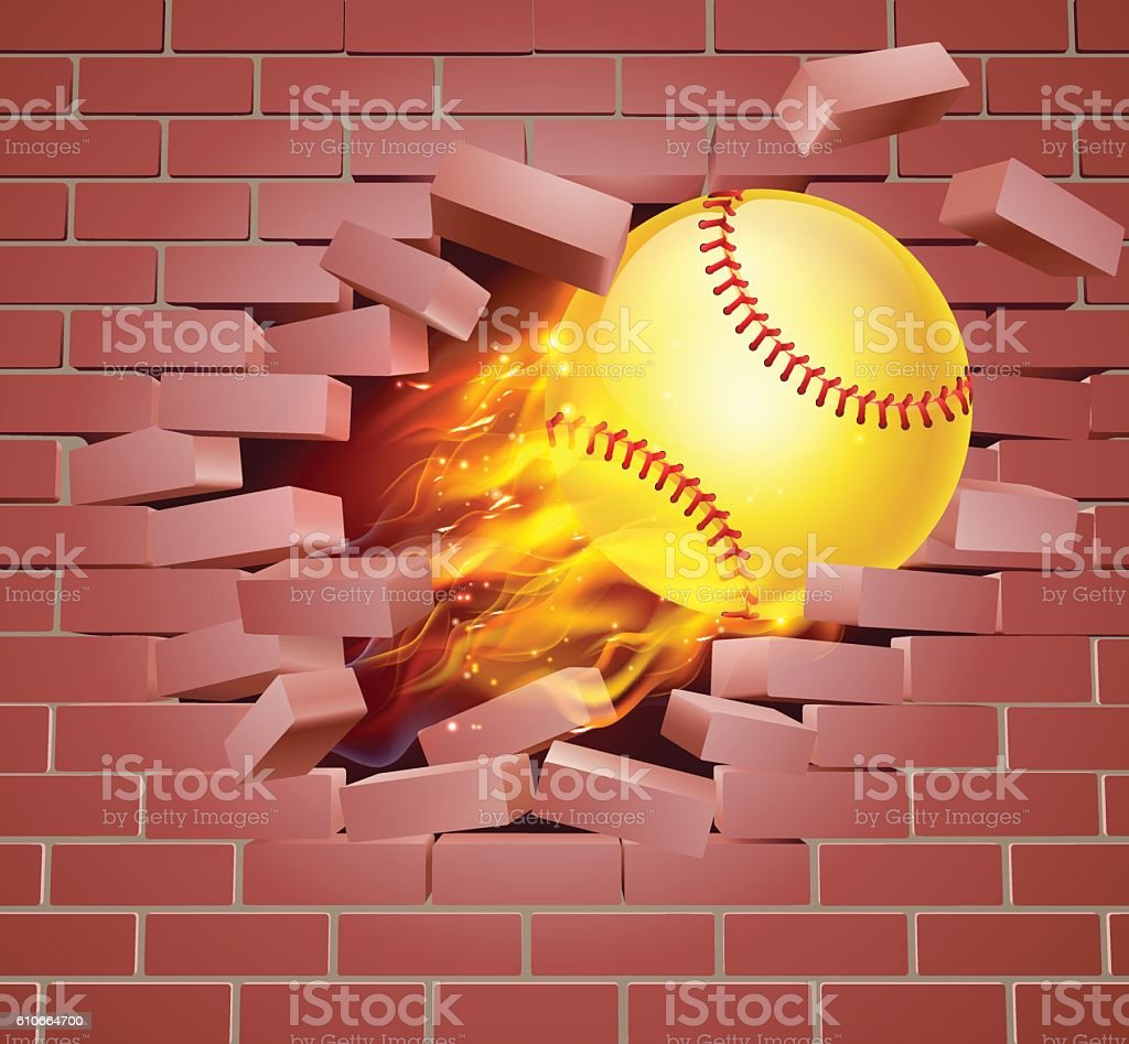 An illustration of a burning flaming yellow Softball ball on fire...