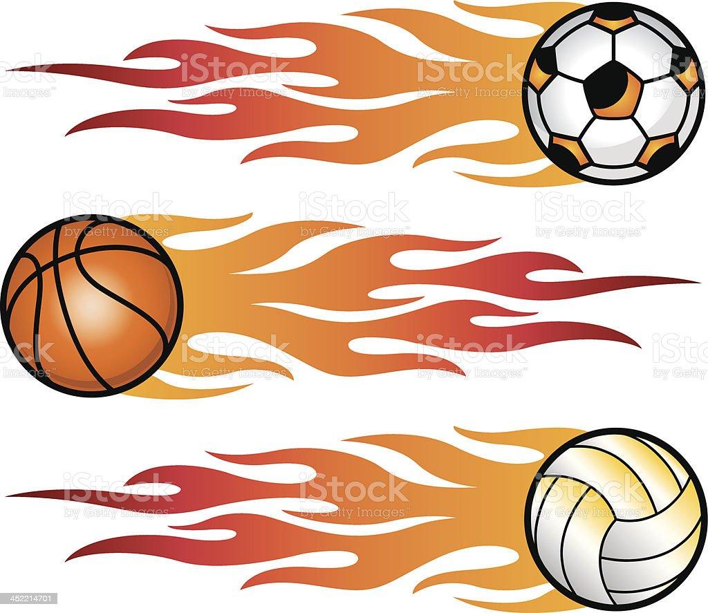 Flaming sports balls royalty-free stock vector art