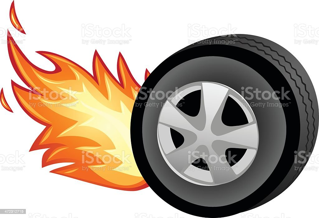 Flaming Tire royalty-free stock vector art