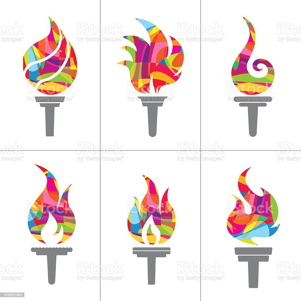 Flaming Torch icons set - Illustration vector art illustration