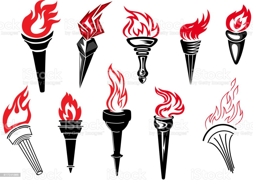Flaming torch icons vector art illustration