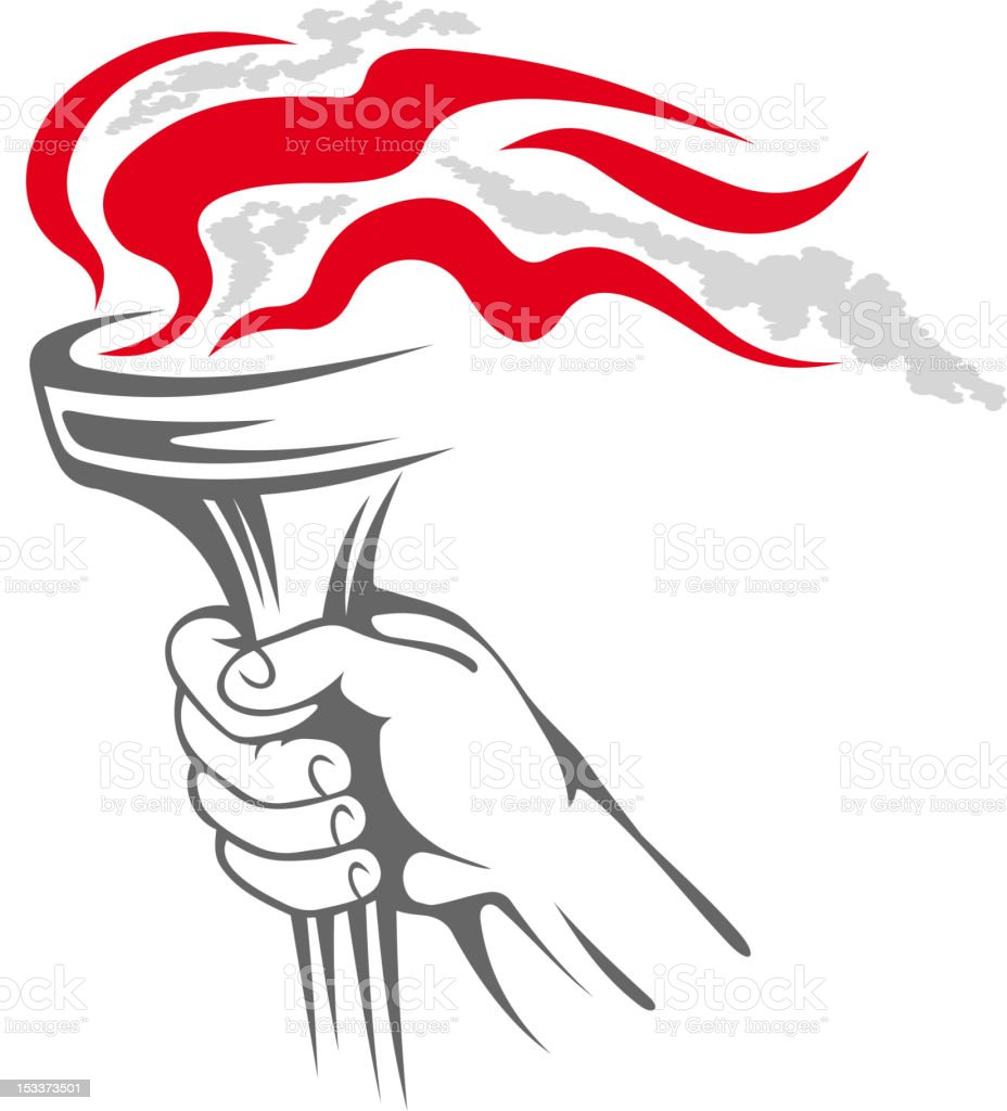 Flaming torch in people hand vector art illustration