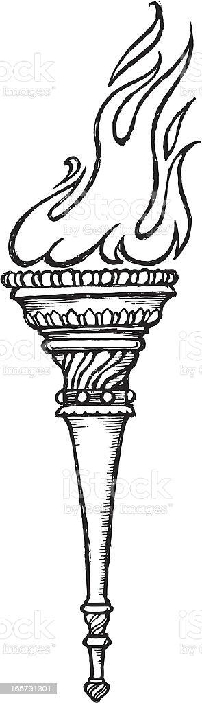Flaming Torch Sketch vector art illustration