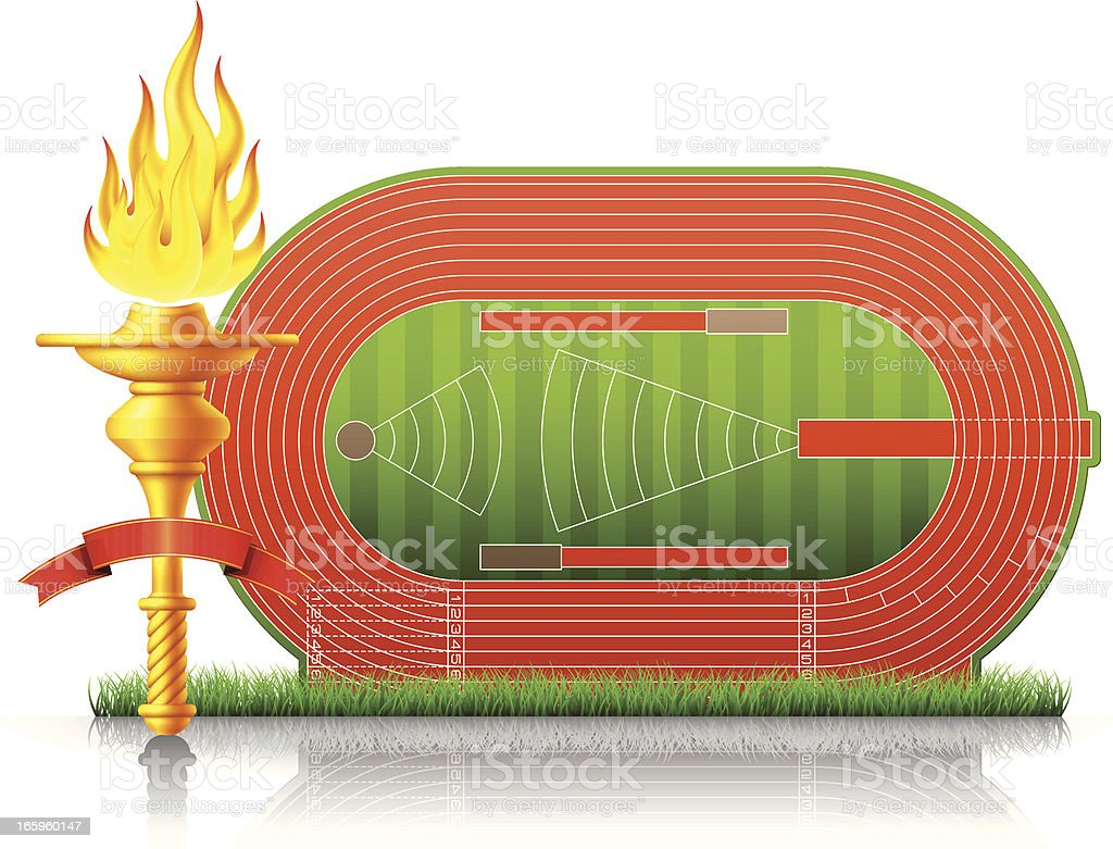 Flaming Torch with Athletics Stadium vector art illustration
