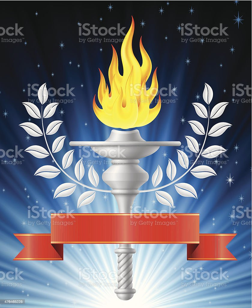 Flaming Torch with Blue Light Background royalty-free stock vector art
