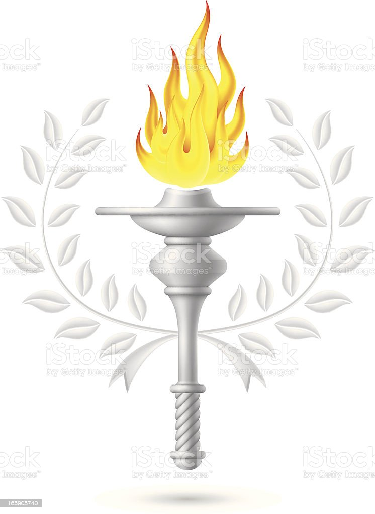 Flaming Torch with Laurel Wreath vector art illustration