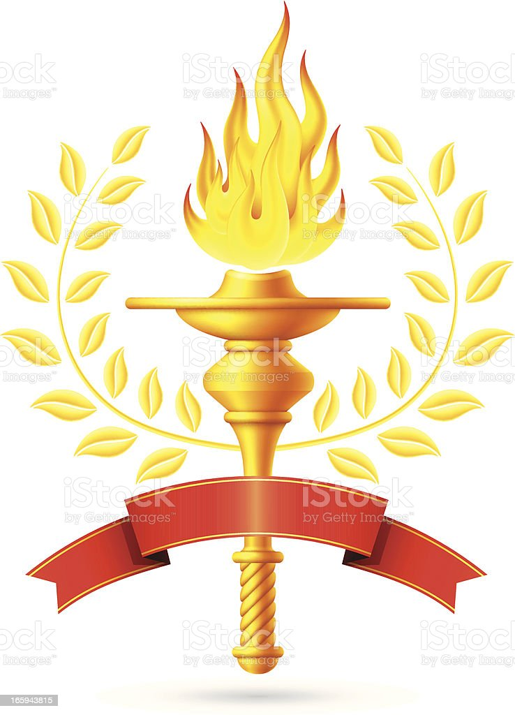 Flaming Torch with Red Banner vector art illustration