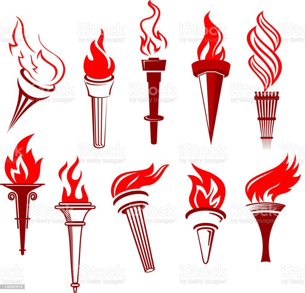 Flaming torchs vector art illustration