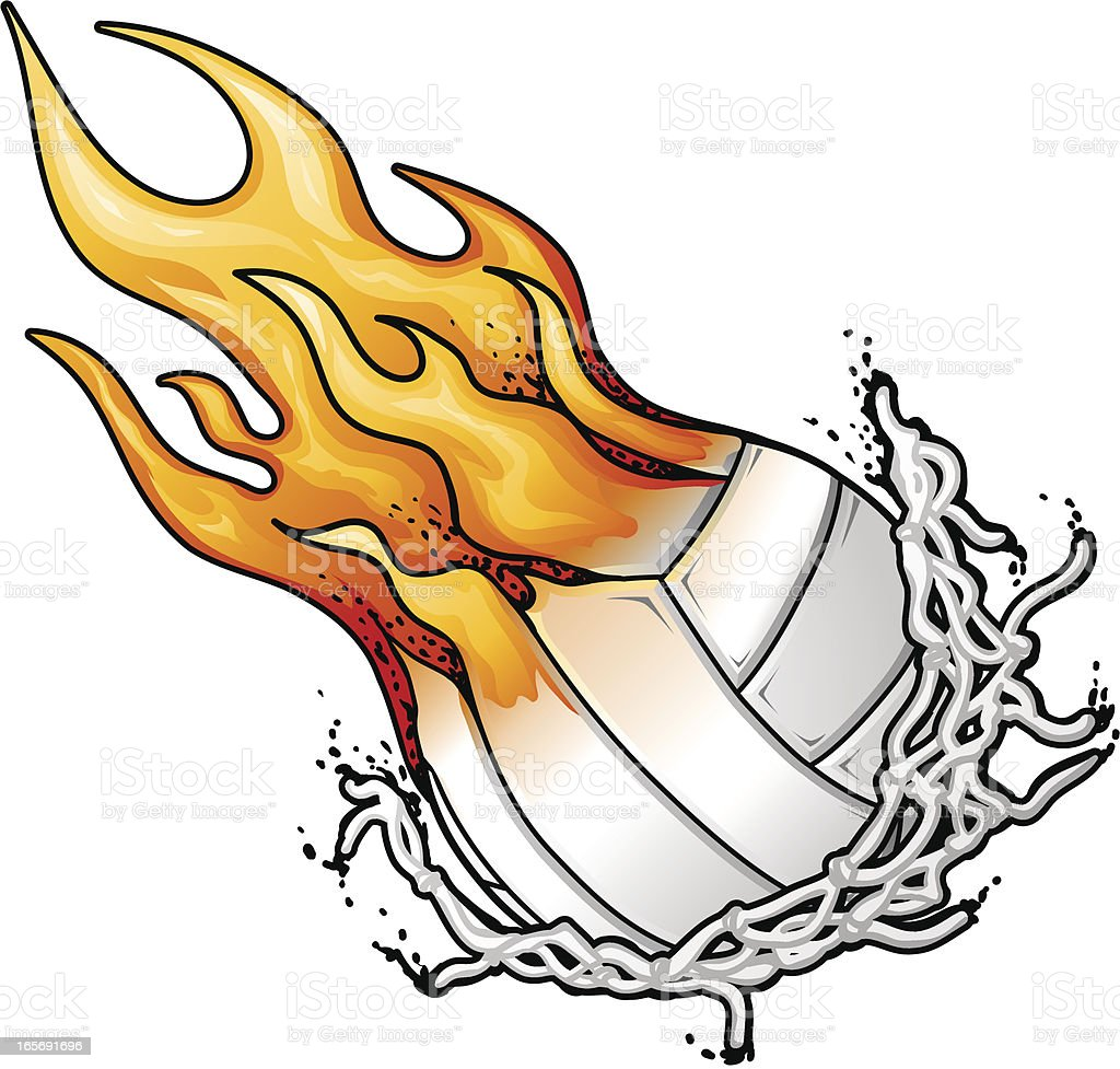 flaming volleyball and net stock vector art 165691696 istock flame clipart free download frame clip art free
