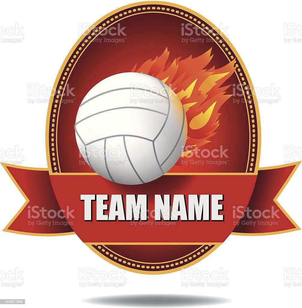 Flaming volleyball insignia royalty-free stock vector art