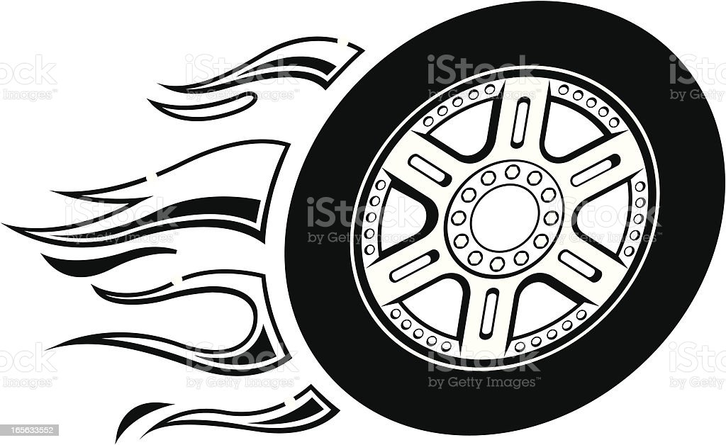 Flaming Wheel BW royalty-free stock vector art