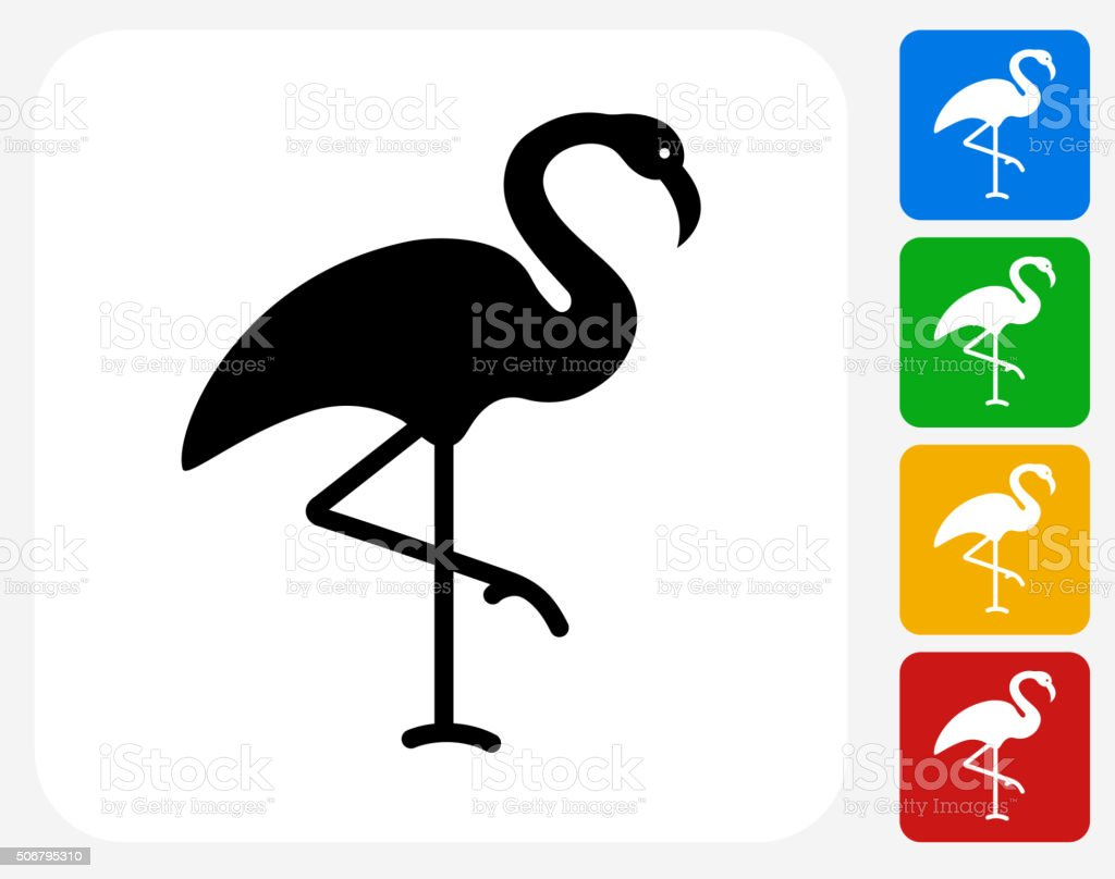 Flamingo Icon Flat Graphic Design vector art illustration