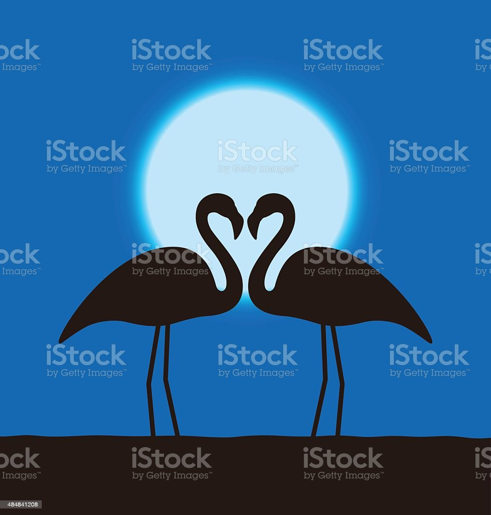 Flamingo lover couple standing face to face vector art illustration