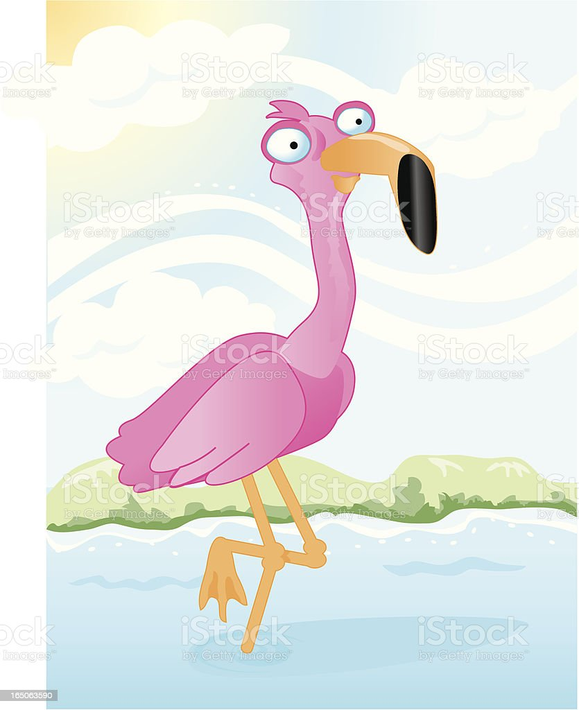 Flamingo Wading in the water royalty-free stock vector art