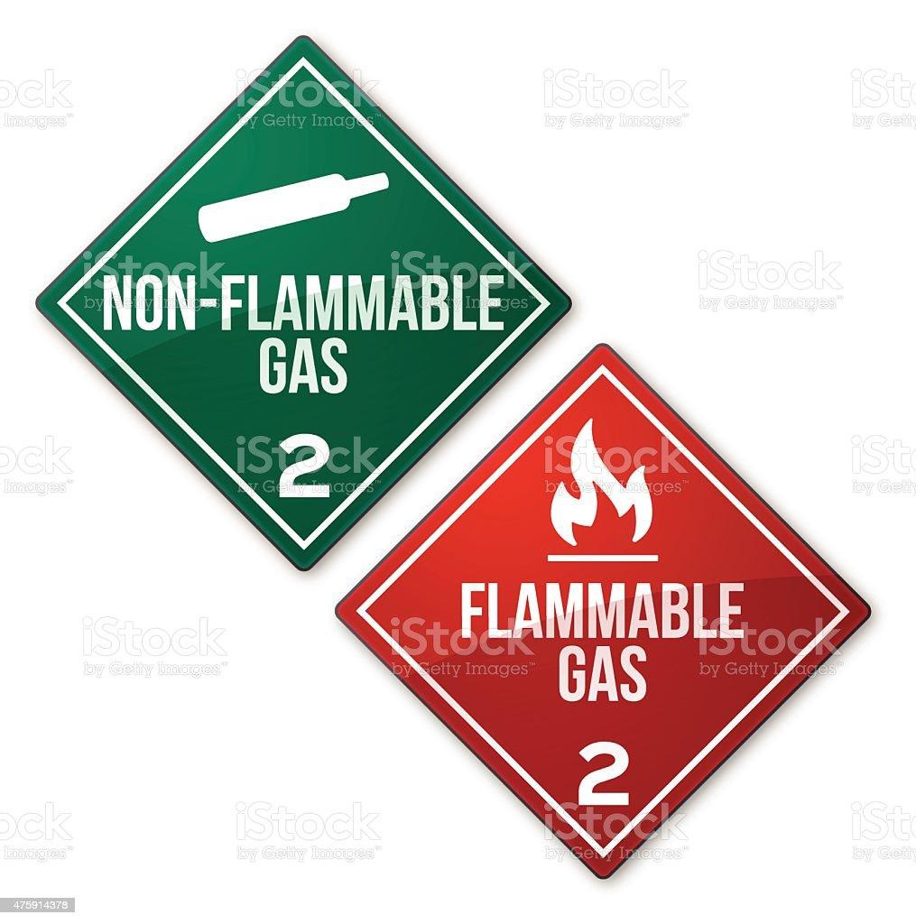 Flammable and Non-Flammable Gas Warning Signs vector art illustration