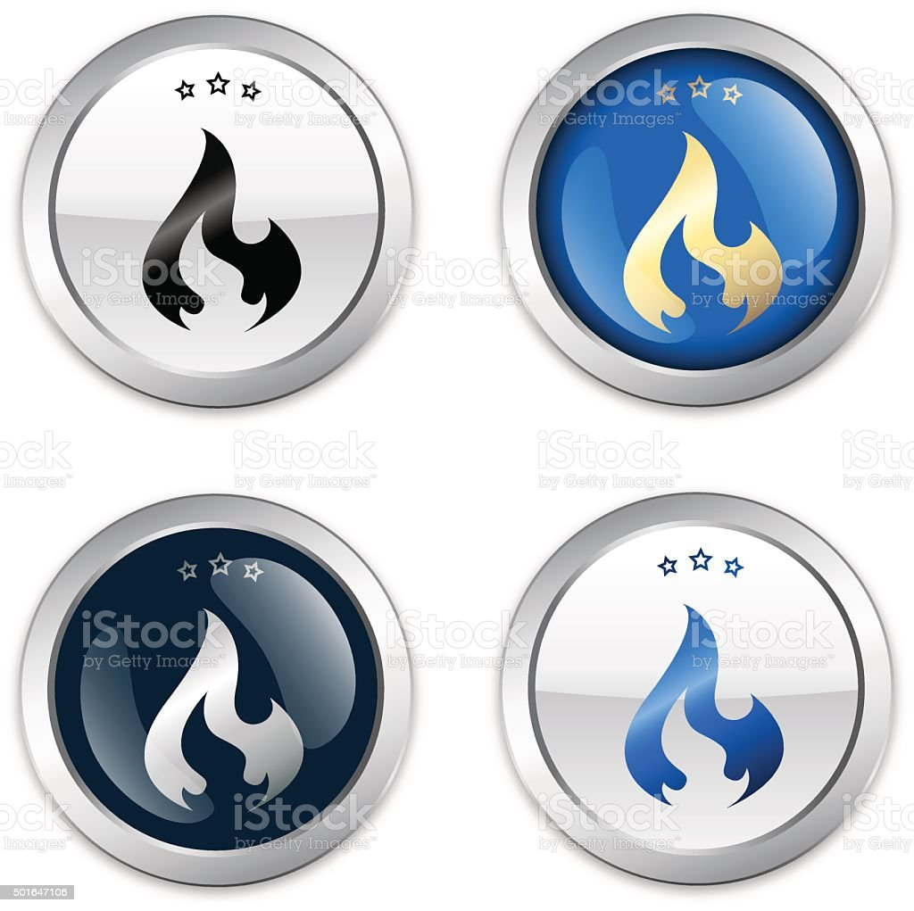 flammable seals or icons with flame symbol vector art illustration