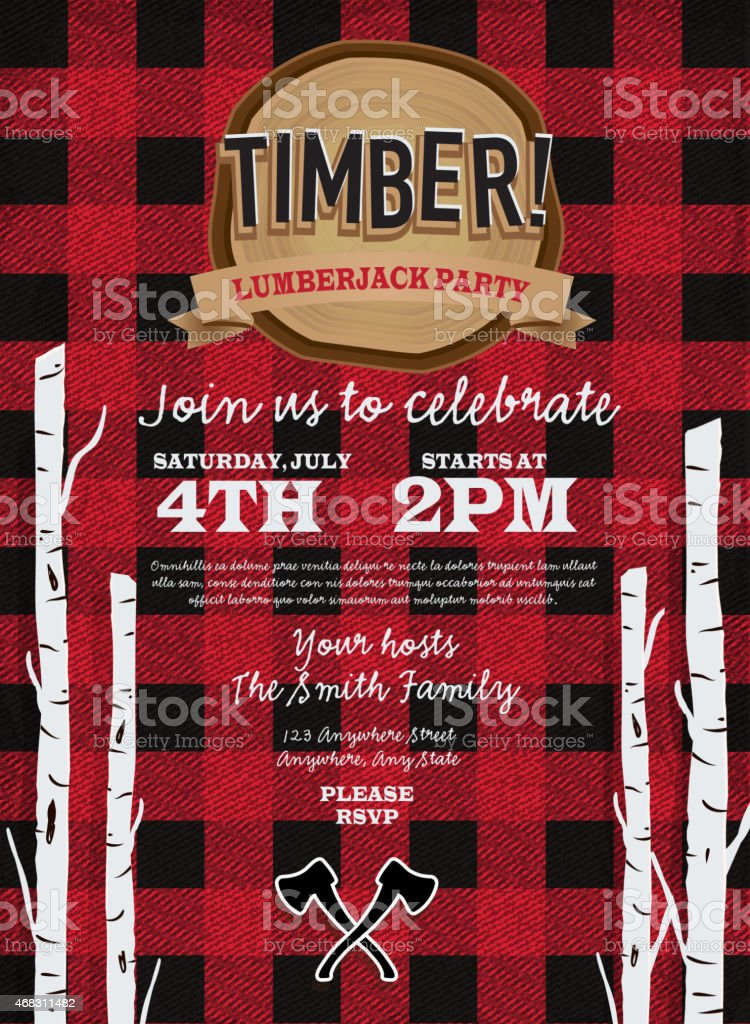 Flannel red plaid Lumberjack party invitation design template vector art illustration