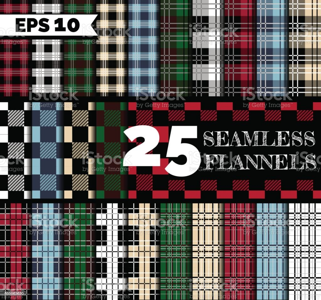 Flannel seamless patterns vector art illustration