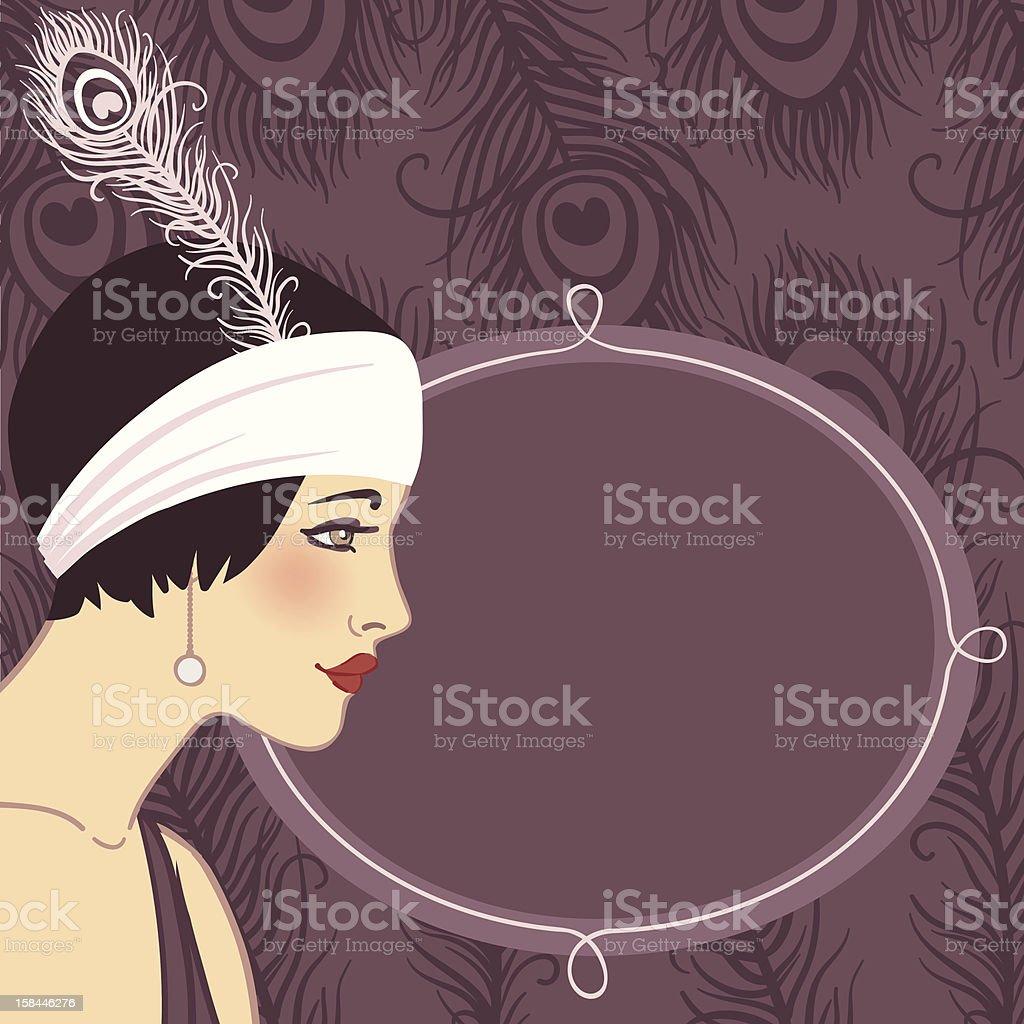 Flapper girl of 1920s (profile) vector art illustration