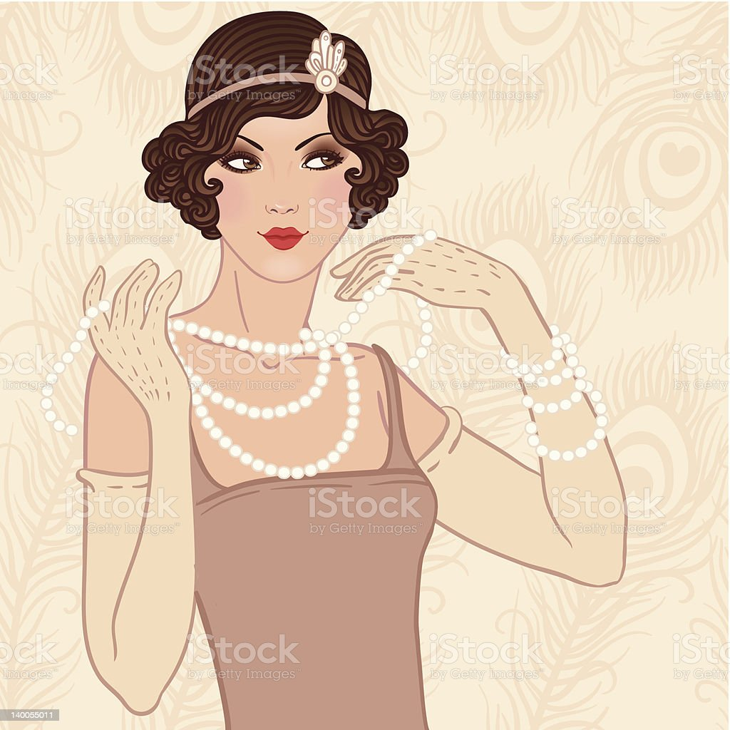 Flapper girl retro party invitation vector art illustration