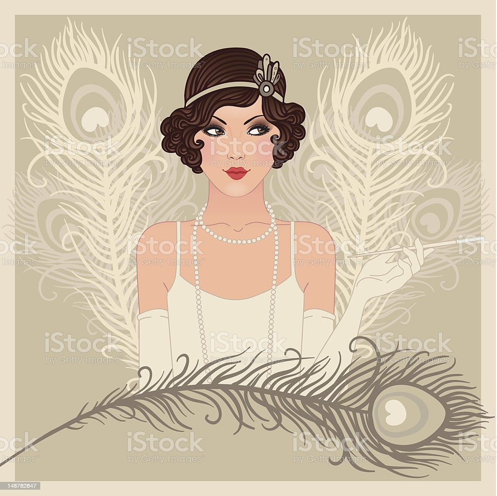 Flapper gitl series: Retro party invitation design vector art illustration