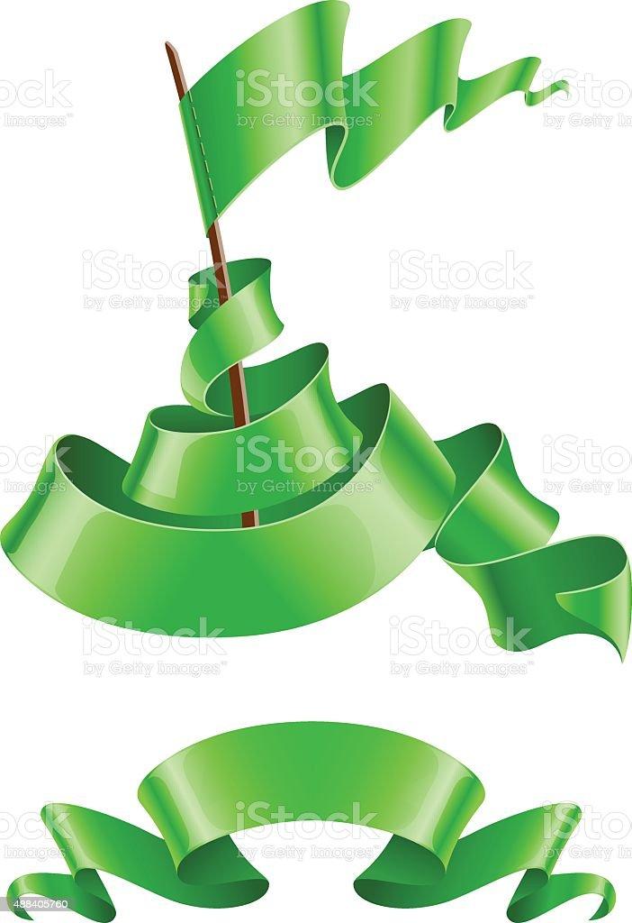 Flapping flagi i wstążki zielony kolor stockowa ilustracja wektorowa royalty-free