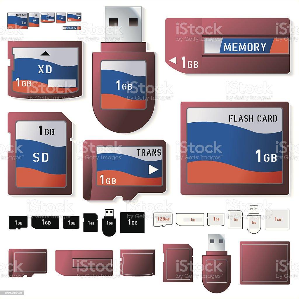 Flash card 1 Gig royalty-free stock vector art