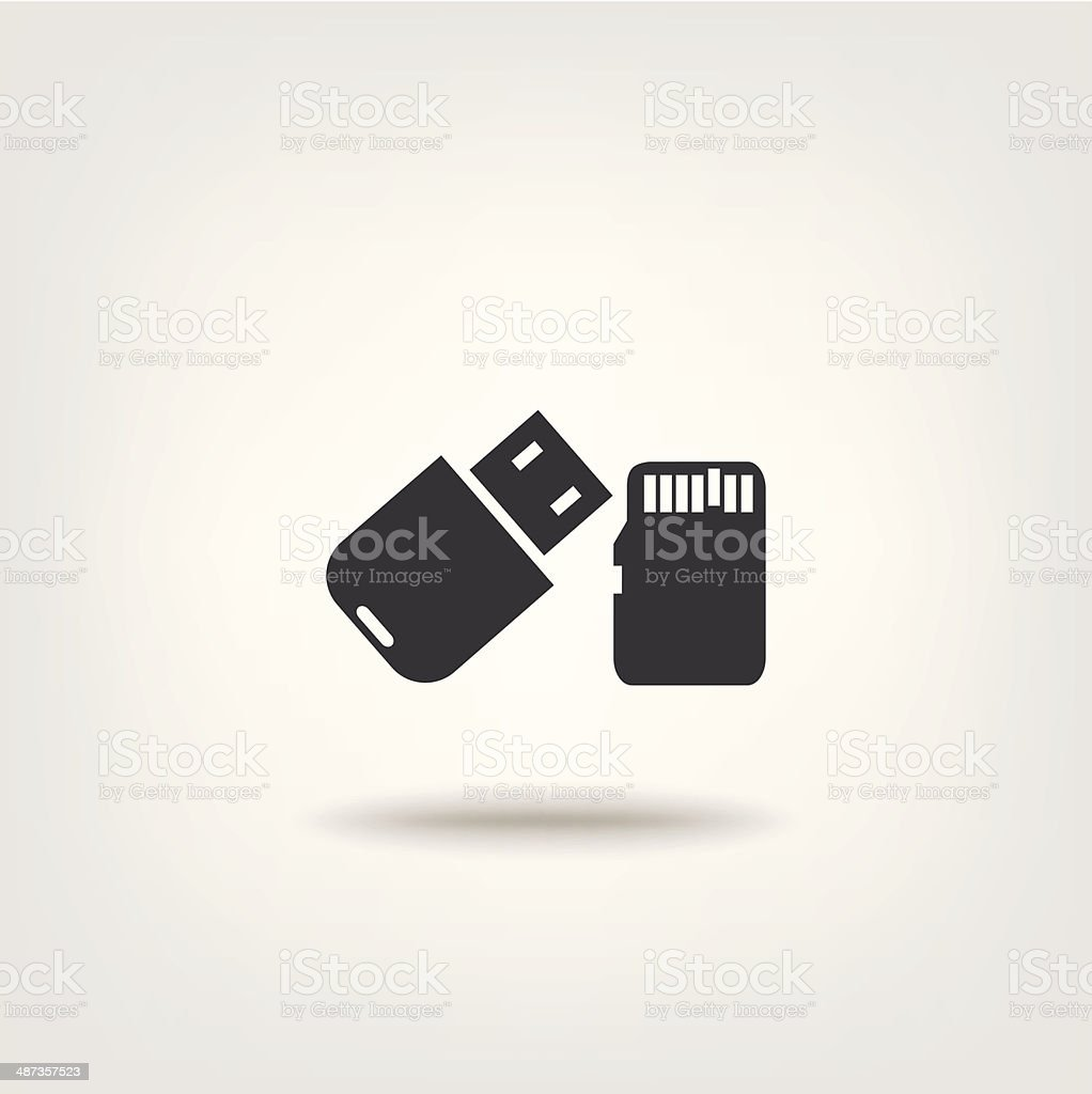 Flash drive and micro card vector art illustration