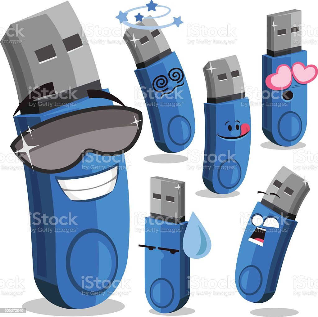 USB Flash Drive Cartoon Set A vector art illustration