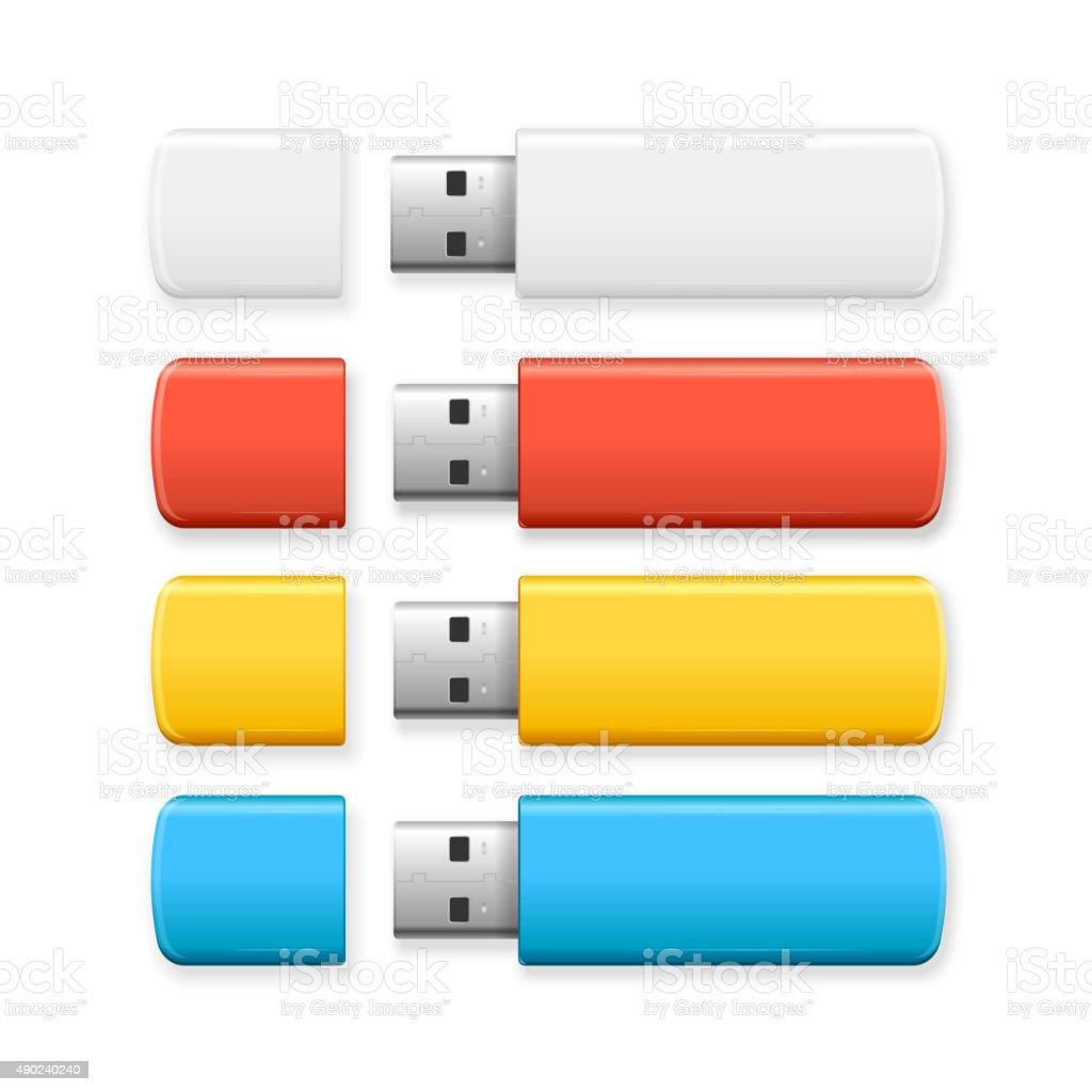 USB Flash Drive Colorful Set. Vector vector art illustration