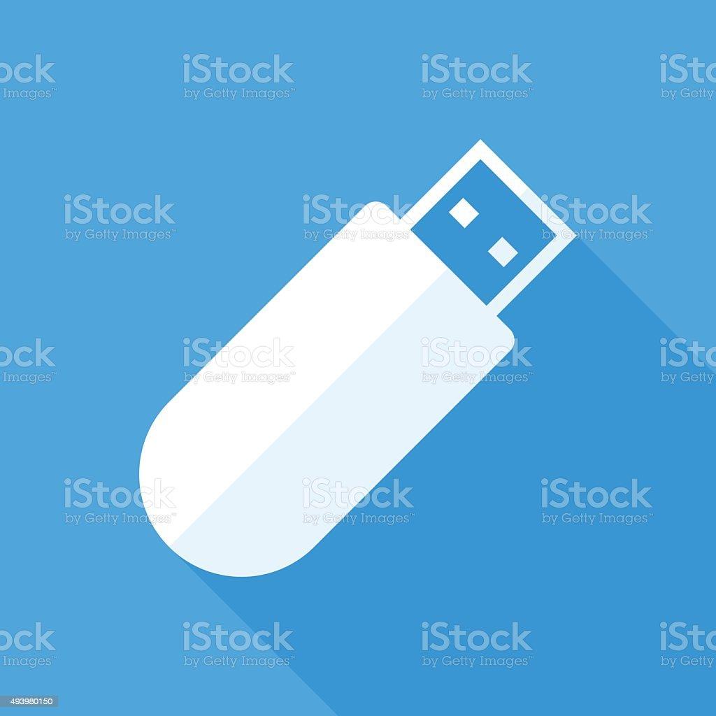 USB flash drive icon, modern minimal flat design style vector art illustration