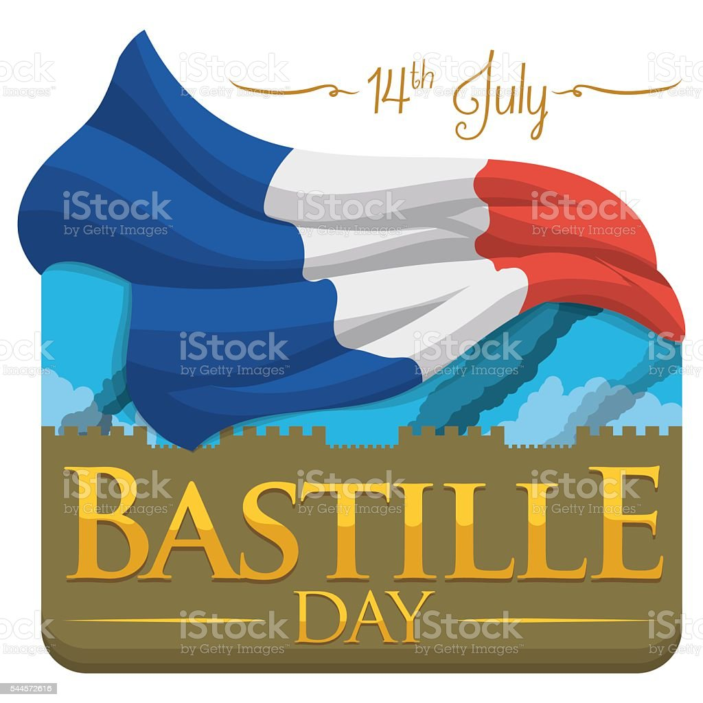Flashback View of Bastille to Commemorate French Independence vector art illustration
