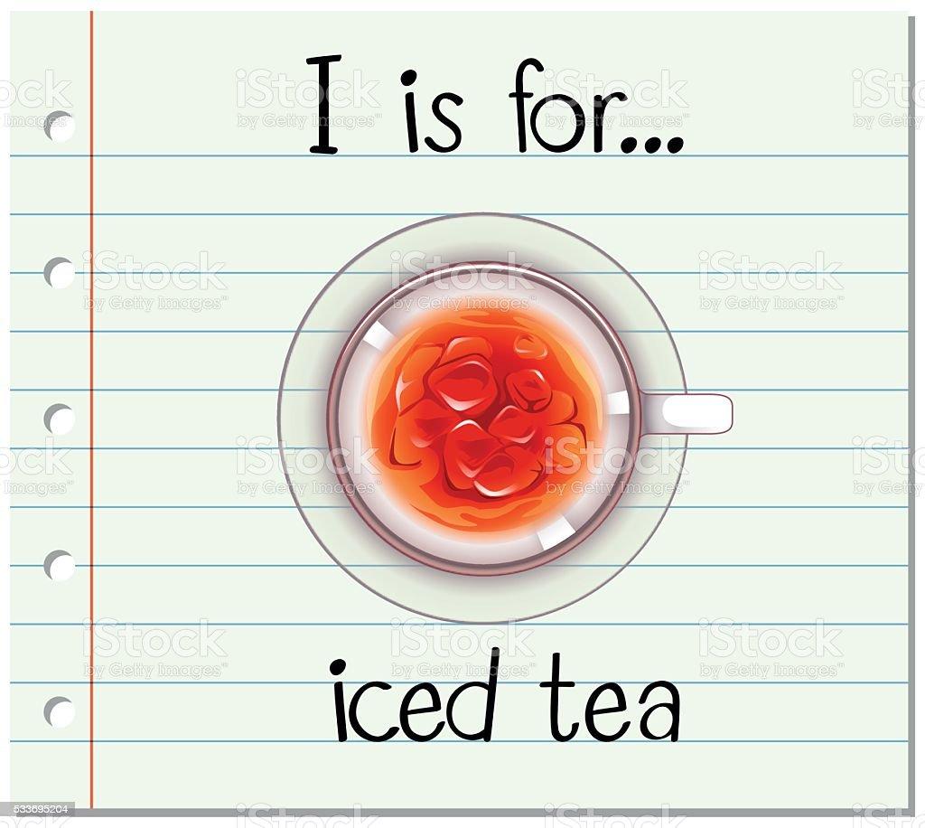 Flashcard alphabet I is for iced tea vector art illustration