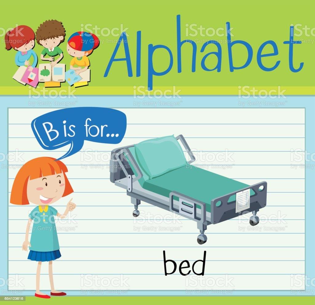 Flashcard letter B is for bed vector art illustration