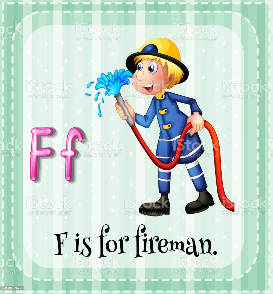 Flashcard letter F  fireman vector art illustration