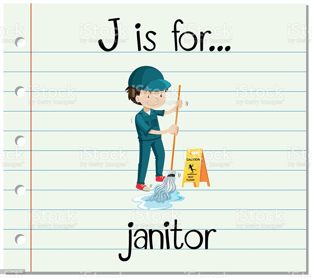 Flashcard letter J is for janitor vector art illustration