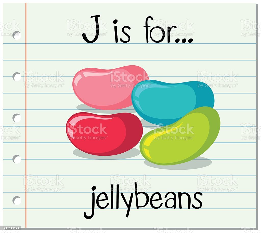 Flashcard letter J is for jellybeans vector art illustration