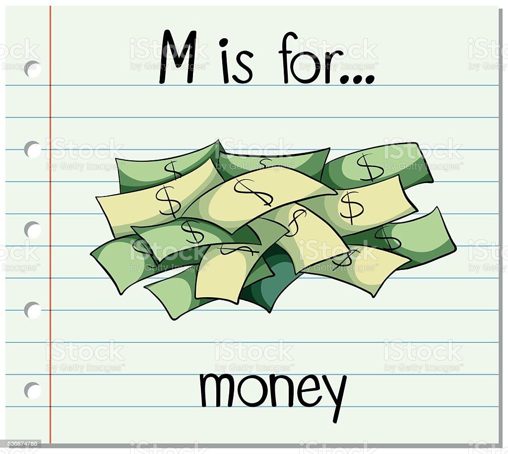 Flashcard letter M is for money vector art illustration