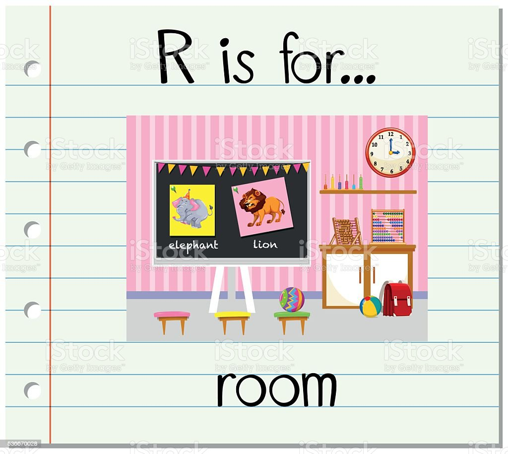 Flashcard letter R is for room vector art illustration