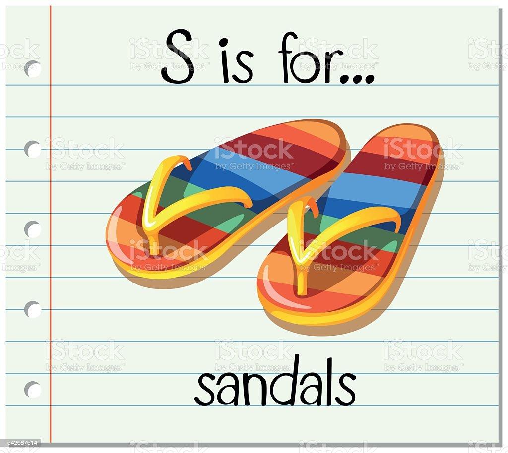 Flashcard letter S is for sandals vector art illustration