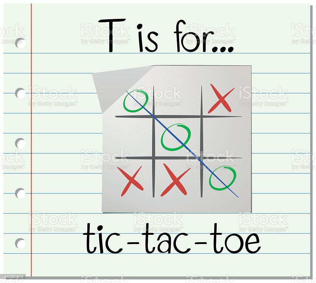 Flashcard letter T is for tic tac toe vector art illustration